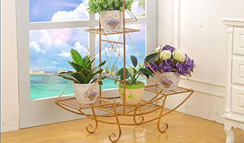 WEBO Home- Eisen Blumenrahmen Boden Stil Blument e Europ che Mode Wohnzimmer Balkon Innen-und Au bereich Multi-Gescho lumen Blume Regal -Regal (Farbe   C, Größe   86  23  90CM)