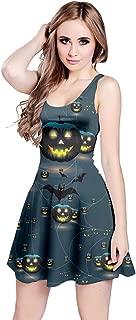 CowCow Womens Halloween Spider Witch Bats Pumpkin Mummy Ghost Sleeveless Skater Dress, XS-5XL