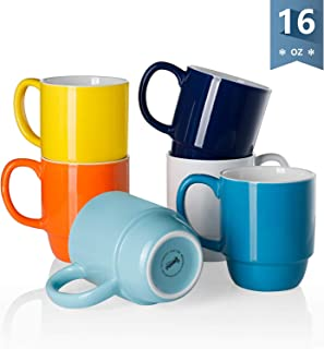 Sweese 605.002 Porcelain Stackable Mug Set – 16 Ounce for Coffee, Tea, Cocoa and..