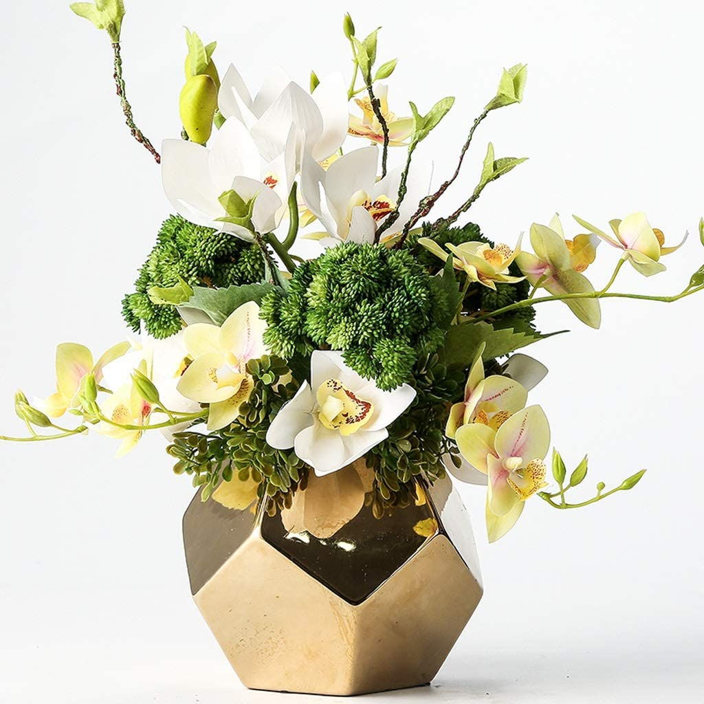 Artificial Flower National uniform free shipping Set, with Golden Comb Vase Max 70% OFF