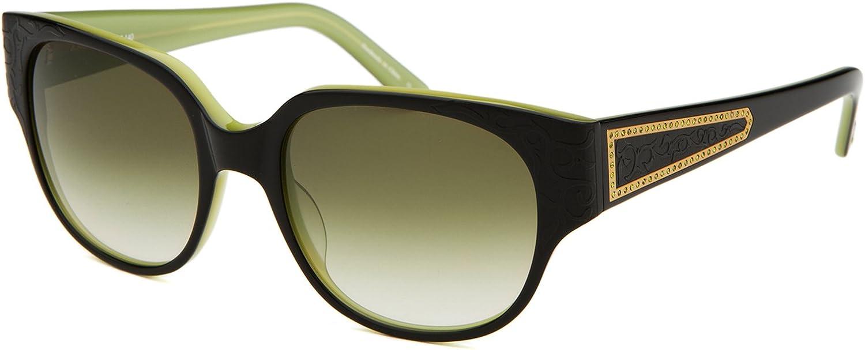 Judith Leiber Women's Floral Motif Sunglasses Onyx Olive