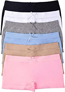 Girls' Pack of 6 Solid Color Ribbon Seamless Boyshorts