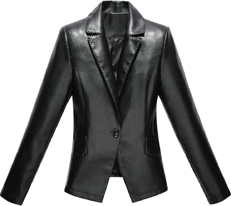 Ouxiuli Women's Faux Leather One Button Slim Fit PU Leather Blazer Jacket