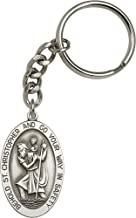 Antique Silver-Plated St. Christopher Keychain 1 5/8 x 1 inches