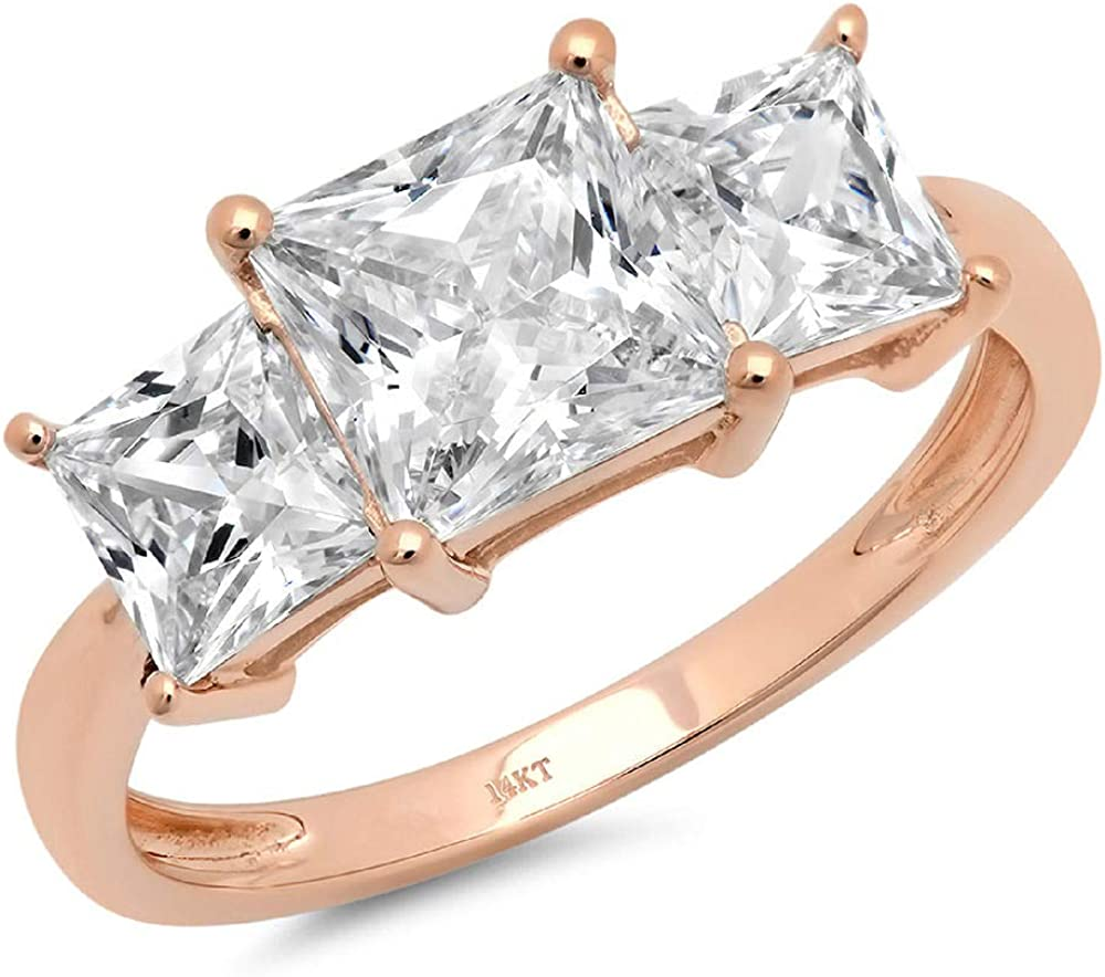 Clara Pucci 2.9 CT Three Stone Princess Cut Promise Solitaire Ring Engagement Wedding Band 14K Rose Gold