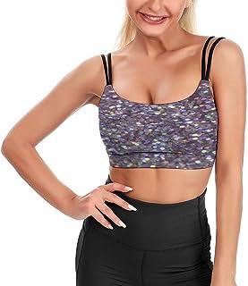 Cyloten Women's Sport Tank Top Glitter Sparkles Fitness Camisole Crop Top Longline Padded Bra -