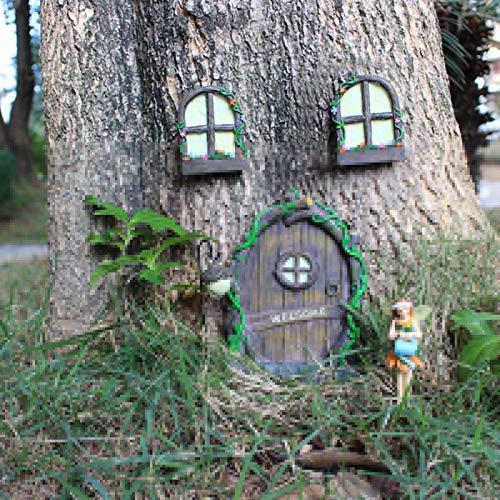 Miniatur Fee Elf Haustür Und Fenster Für Haus, Fenster Und Tür Für Bäume, Hof, Kunst, Garten, Skulptur