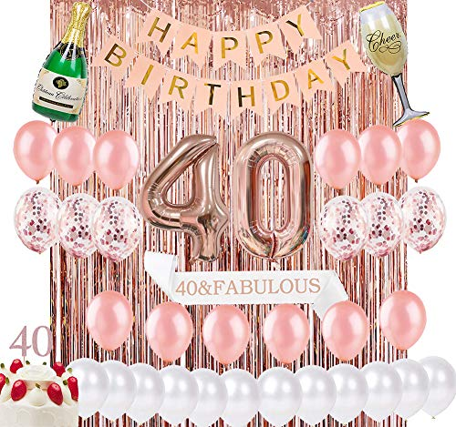 Sllyfo 40th Birthday Decorations Party Supplies Kit - 40th Birthday Gifts for Womens,40th Cake Topper|Banner|sash|Rose Gold Curtain Backdrop Props|Confetti Balloons|Champagne Balloon. (40)