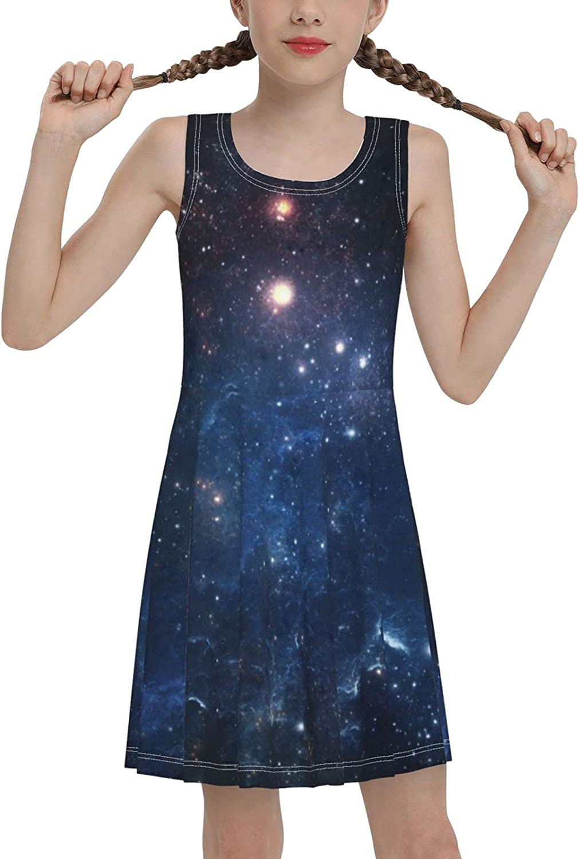 SDGhgHJG Fantasy Space Sleeveless Dress for Girls Casual Printed Jumper Skirt