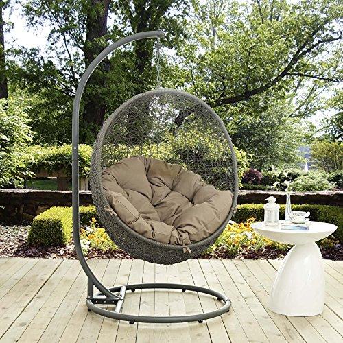LexMod EEI-2273-GRY-MOC Hide Outdoor Patio Swing Chair, Gray Mocha