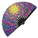 Hypnotiq Mandala Hand Fan Decorative Bamboo Folding Fan Totem Art Mandala clack Fan UV Glow Rave Fans