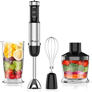 XProject 5-in-1 Hand Blender with 12 Speed,Stainless Steel Stick Blender, 800W Powerful Immersion Blender Includes BPA-Free Food Chopper/Egg Beater/Beaker Hand Mixer