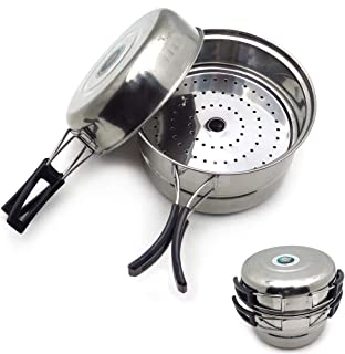 HTTMT- ET-Cook001-3PCS Outdoor Camping Cookware Stainless Steel Cooking Picnic Bowl Pot Pan Set