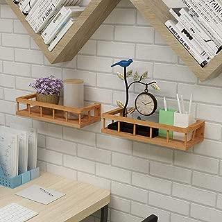 HAI+Bamboo Floating Shelves Wall Mount, Display Ledge Shelf, Wall Mount Shelves, Wall Mount Display Rack, Home Decorative, for Bedroom, Living Room,Bathroom,Kitchen,Office,Nursery Wall Shelf,Set of 2