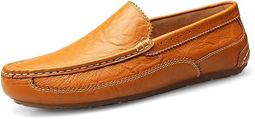 Shufang-chaussures, Chaussures Mocassins Homme 2019, Mocassins Mocassins Mocassins de Conduite pour Hommes Bottes Oxford SeuleHommest des Chaussures en Cuir Souple Slip en Cuir véritable en Mode Gravure Brock 7bb