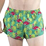 BOA Mens Stretch 1' Elite Split Printed Running Short (1000SWP)(Flamingo Green, Large)