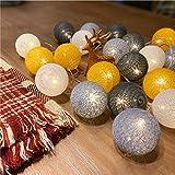 Lichterkette Cotton Ball 5M 50er LED Kugel Light Warmweiß, Treer mit 8 Modi Mehrere Farbe für...