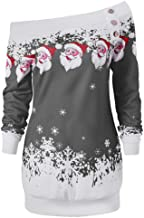 YANYUN Christmas Tree Women Shirts Off The Shoulder Santa Claus Print Loose Plus Size Fashion Winter Sweatshirts Tunic Top