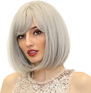Perfeclan Short Bob Wig 12 Inches Straight Synthetic Hair Wigs for Women