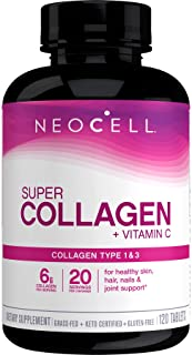 NeoCell Super Collagen + C – 6,000mg Collagen Types 1 & 3 Plus Vitamin C - 120 Tablets