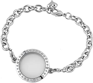 New 30mm Fashion Round Shaped Clear Crystal Floating Charms Living Memory Locket Chain Bracelet