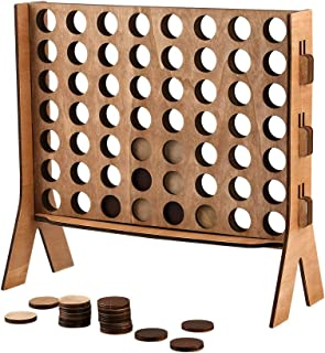 Wooden 4 in A Row Game,Sleek Design Wood Tabletop Board Game,with Carrying Color Box,Coin's Storage Bag and Rules for Game Night,Parties,Bar Game and Kid's Birthday (Brown)