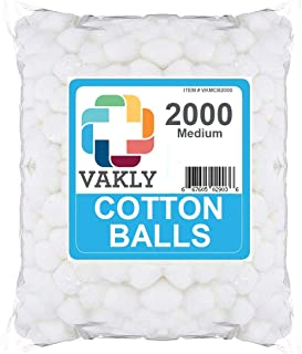 Vakly Non-Sterile Medium Cotton Balls - 2000 Bag