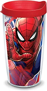 Tervis 1319332 Marvel - Spider-Man Iconic Insulated Travel Tumbler with Wrap and Red Lid 16oz - Tritan Clear