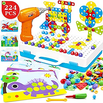 ZMZS Electric Drill Puzzle Peg Board Take Apart Toy Button Art Toy Mosaic Pegboard,3D Construction Building Blocks Playset ,STEM Toys for 3 4 5 6 7 Year olds Kids boy Gifts 224 Pcs