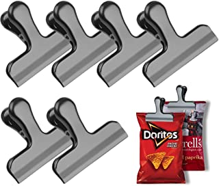 OGIS Black Chip Bag Clips, 3 Inches Wide Stainless Steel Heavy Duty Chip Clips for Bag, Great for Air Tight Seal Grip on Coffee & Food Bags, Kitchen Home Office Usage, Set of 6