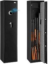 Bonnlo Biometric Rifle Safe Quick Access Gun Safe Large 5 Gun Cabinet Fingerprint Gun Safe with Lockable Box for Handgun/Ammo