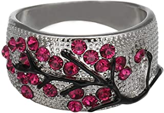 Xinantime Bright Zirconia Rings for Women Unique Plum Crystal Diamond Wedding Luxury Ring Hot Pink Ring
