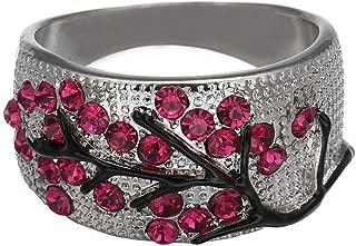 Kintaz Women's Engagement Wedding Ring European and American Fashion Luxury Simulation Green Diamonds Jewelry (11, Plum Blossom)