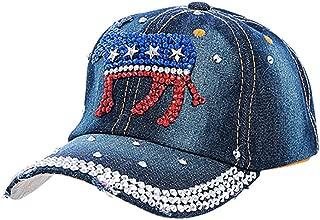 Crazy4Bling Dark Blue Denim Democrat Donkey Star Studded Accent Design Cap Hat