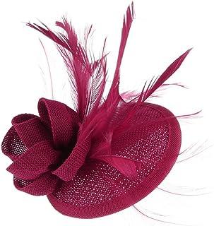 MBZY Tocado Plumas Flores de Pelo de Mujer Vintage Noche Cóctel Fiesta Fucsia Oscuro