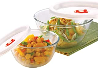 Borosil - IY22BS12021E Basics Glass Mixing Bowl with lid - Set of 2 (500ml + 1.3L) Microwave Safe