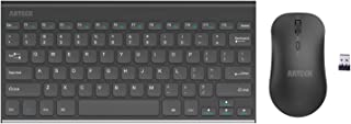 Arteck 2.4G Wireless Keyboard and Mouse Combo Ultra Compact Slim Stainless Full Size Keyboard and Ergonomic Mice for Computer/Desktop/PC/Laptop and Windows 10/8/7 Build in Rechargeable Battery