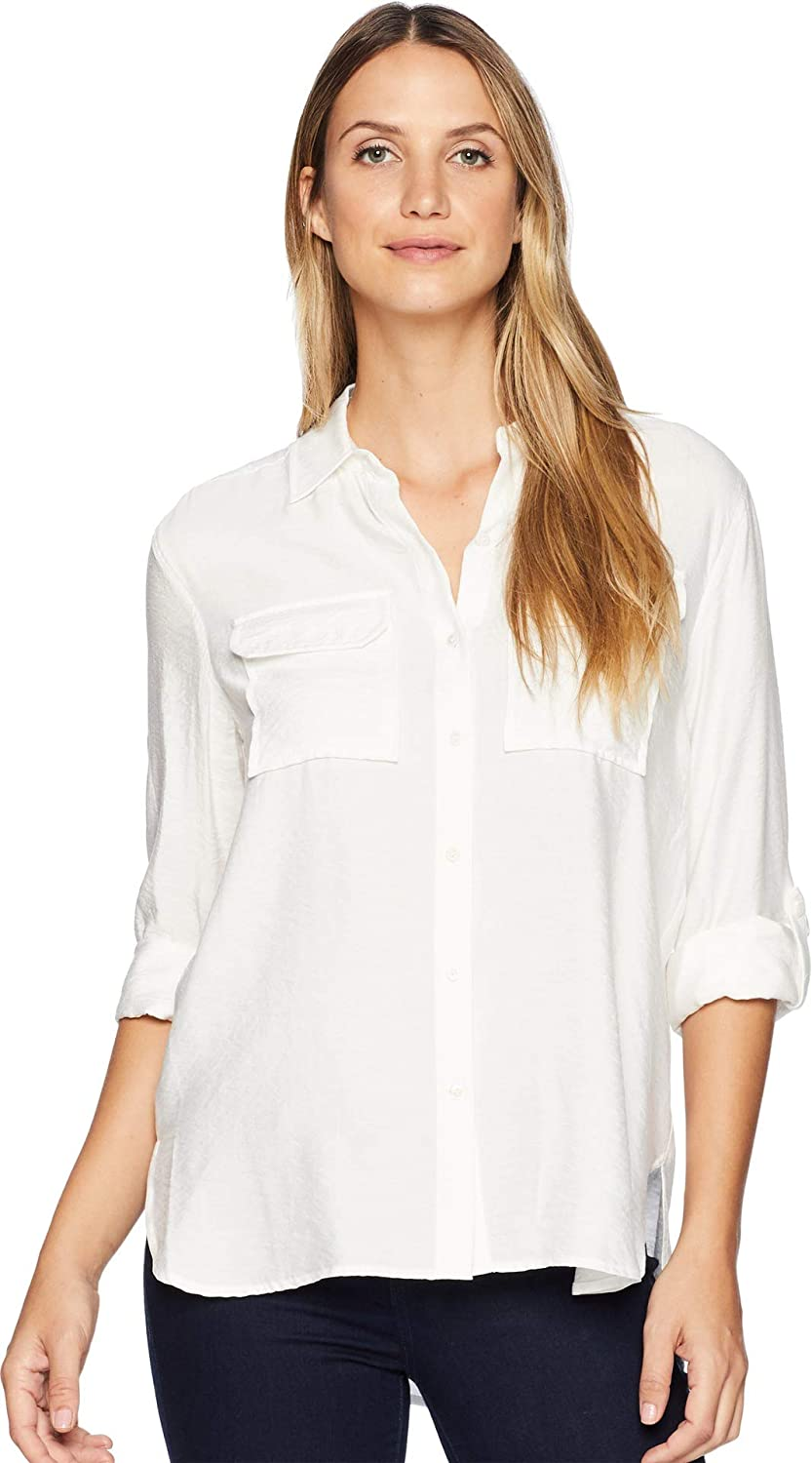 Two by Vince Camuto Womens Long Sleeve Flowy Rumple Relaxed Utility Shirt