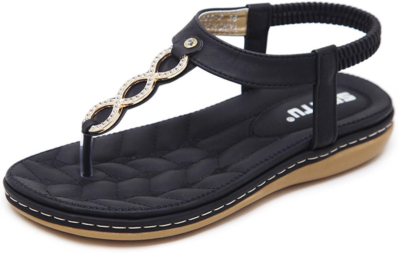 Kyle Walsh Pa Women Flat Sandals,Bohemia Rhinestone T Strap Prime Thong Flip-Flop Beach shoes