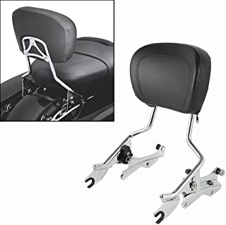 XFMT Backrest Sissy Bar + 4 Point Docking Kit w/Pad Compatible with Harley Street Glide 09-13 12