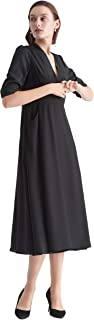 LilySilk Silk Wedding Dress for Women Long V Neck Empire Half Sleeve Bridesmaid Pure Silk Tunic Dresses