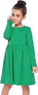 Little Girls Dress Short Sleeve Solid Color Casual Skater Pocket Dress