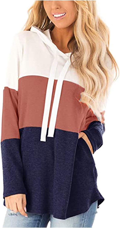 iQKA Women Color Block Sweatshirt Long Sleeve Tops Pocketed Casual Loose Hooded Pullover Oversized Hoodies S-5XL
