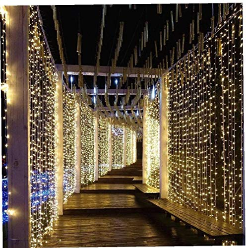 Led Curtain Lights 300 Led 3x3 Meters Modes Fairy Window String Lights Waterproof for Indoor Outdoor Christmas Wedding Garden Wall Decoration Wedding Decorations