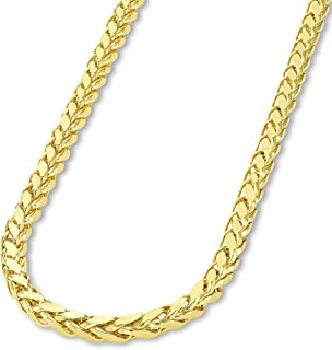 14k Yellow Gold or White Gold 3.5mm Hollow Square Braided D/C Wheat Chain Necklace with Lobster Claw Clasp
