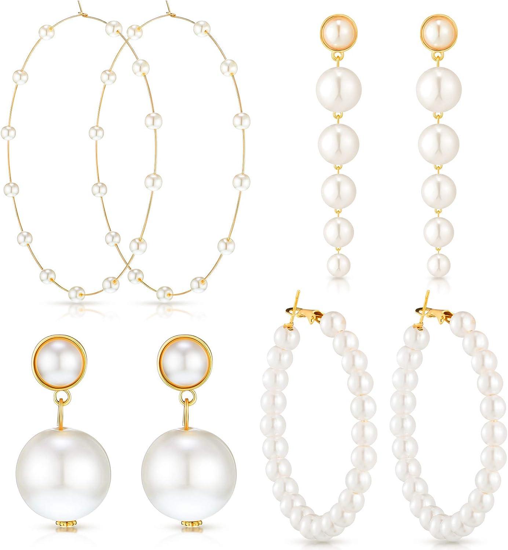 4 Pairs Faux Pearl Hoop Earrings Large Hoops Huge Circle Pearls Earrings Boho Gold Long Pearl Drop Dangle Earrings Bohemian Statement Earrings for Women Girls Daily Party