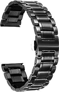 BINLUN Klockarmband i rostfritt stål Ersättningsurremmar med raka och böjda ändar Dam & herr 6 färger (guld, sliver, svar...