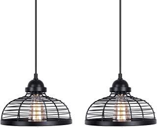 Industrial Metal Pendant Light, Vintage One-Light Indoor Mini Pendant Lighting, Adjustable Edison Farmhouse Kitchen Lamp for Dining Room Farmhouse Entryway Foyer Table Hallway, 2-Pack Black