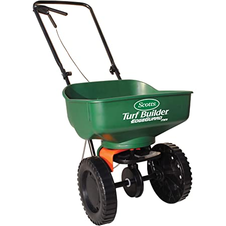 Scotts Turf Builder EdgeGuard Mini Broadcast Spreader - Holds up to 5,000 sq. ft. of Scotts Grass Seed or Fertilizer Products
