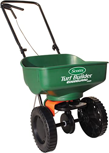 Scotts Turf Builder EdgeGuard Mini Broadcast Spreader - Spreads Grass Seed, Fertilizer and Salt - Holds up to 5,000 s...